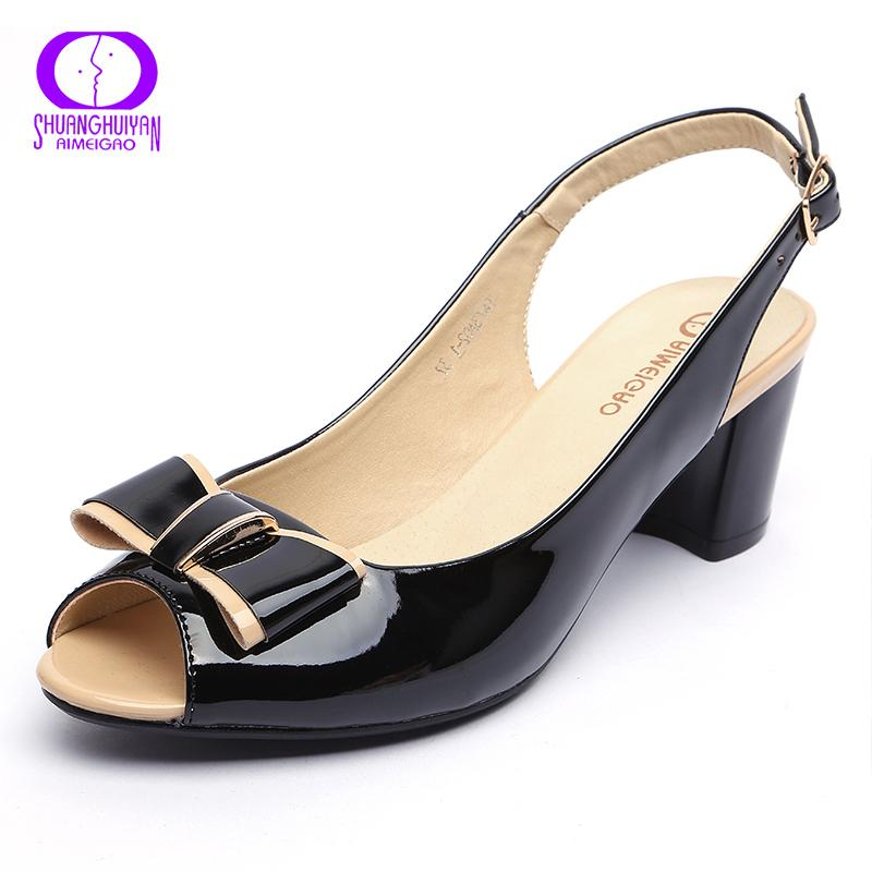 74b22df1596489 Fashion High Heels Peep Toe Sandals Women Summer Open Toe Thick Heel  Sandals Back Strap Buckle Bowtie Woman High Heels Shoes Cheap Shoes Wedge  Sneakers From ...
