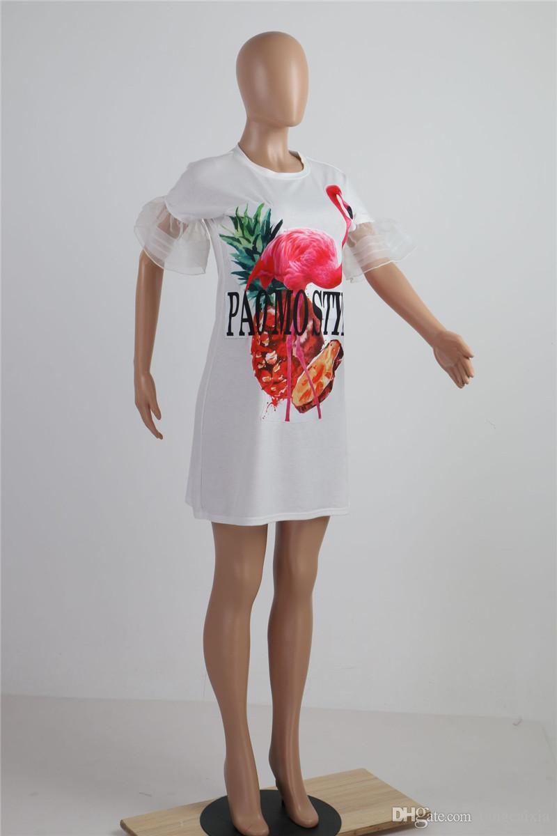 Toptan Ücretsiz Kargo Kadınlar Casual Hayvan Desen Baskı Kelebek Kollu Gevşek Mini Eklenmiş Uzun T-shirt Elbise