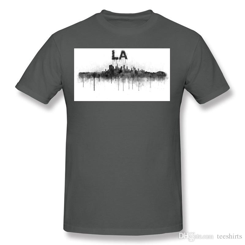 Brand Adult 100% Cotton Los Angeles California Cityscape Skyline v0BW T Shirt Adult O Neck Gray Short Sleeve T-Shirt Big Size Printed T Shir