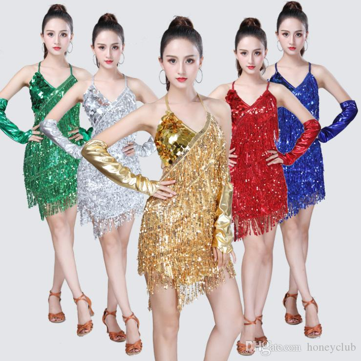 dd30d5b4a 2019 New Sequined Sequined Costume Sequined Dance Backless Latin ...