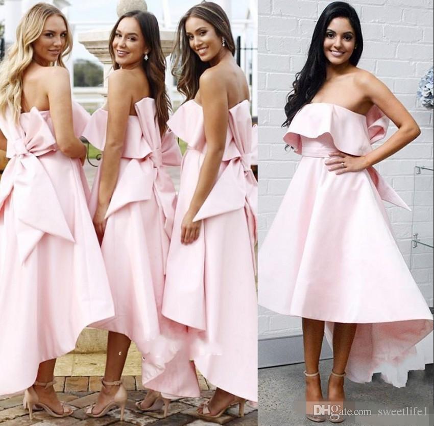 395ae7629cf8cc Großhandel Fashion Pink Bow Backless Brautjungfer Kleider 2019 Liebsten Tee  Länge Rüschen Trauzeugin Hochzeit Gast Kleid Von Sweetlife1, $82.32 Auf De.