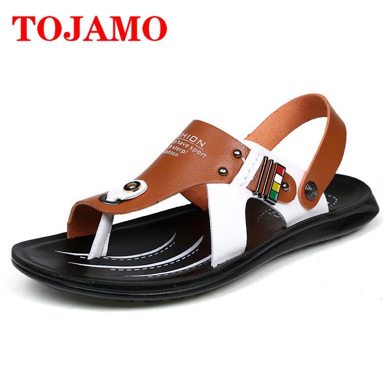900f9baf18c Compre TOJAMO Sandalias Cómodas De Verano Para Hombres Sandalias De Cuero  Sandalias De Playa De Verano Sandalias Hombre Moda Al Aire Libre Planas  Zapatos De ...