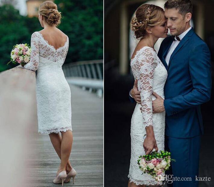 Summer Holiday 2018 Short Wedding Dresses Knee Length Simple White