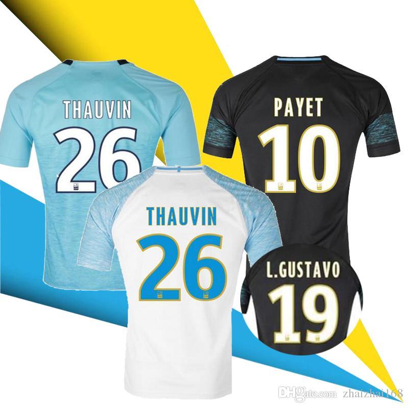 Camisetas De Fútbol De Alta Calidad 18 19 Marseille L.GUSTAVO 19 PAYET 10  THAUVIN INFANTIL 26 2018 2019 Jersey L.OCAMPOS 5 SANSON 8 Camisetas Por ... 406588598ed5f