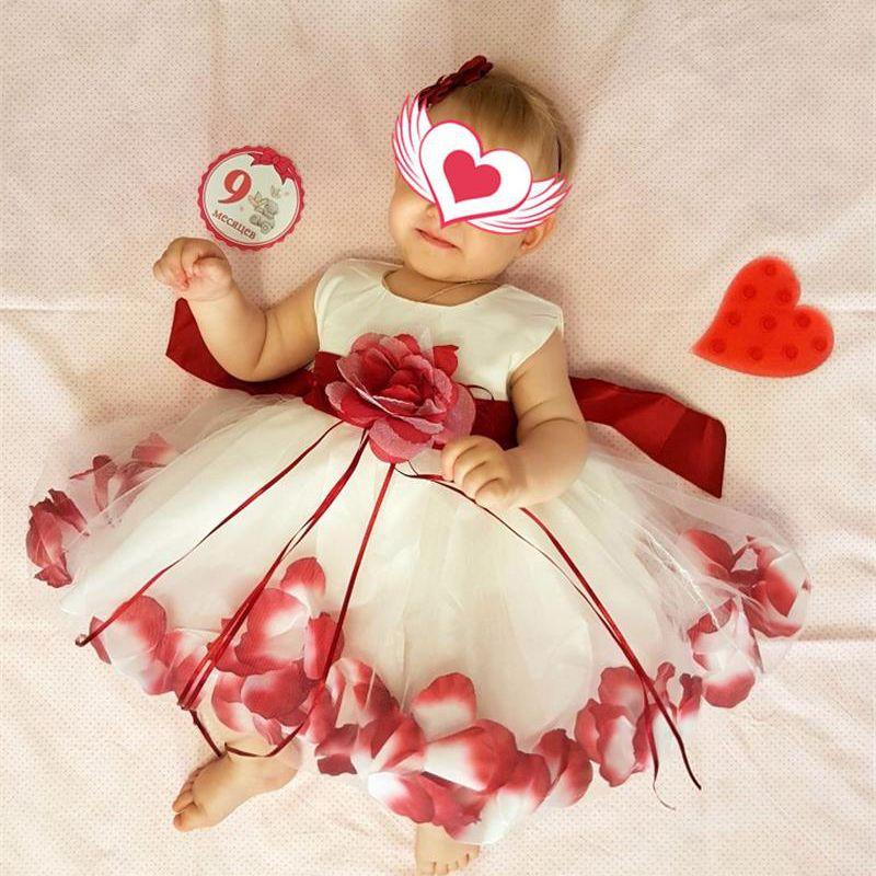 3773e5e36070 2019 Newborn Baby 1st Birthday Outfits Flower Girl Wedding Dress ...