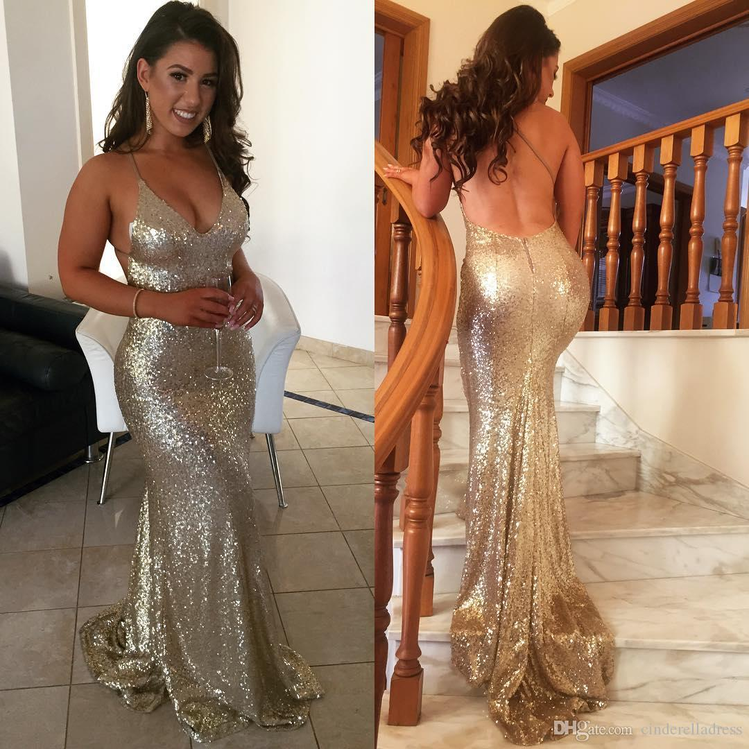 Sexy Champagne Gold Prom Dresses 2018 Spaghetti Straps Deep V Neck Open Back Robe De Soiree Evening Gowns
