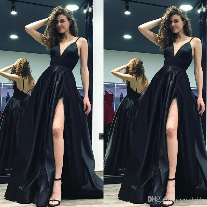 34a14434314 Sexy Black Spaghetti Open Back Side Slit Prom Party Dresses A Line  Glamorous Simple Evening Gowns Women Special Occasion Dresses Knee Length  Prom Dresses ...