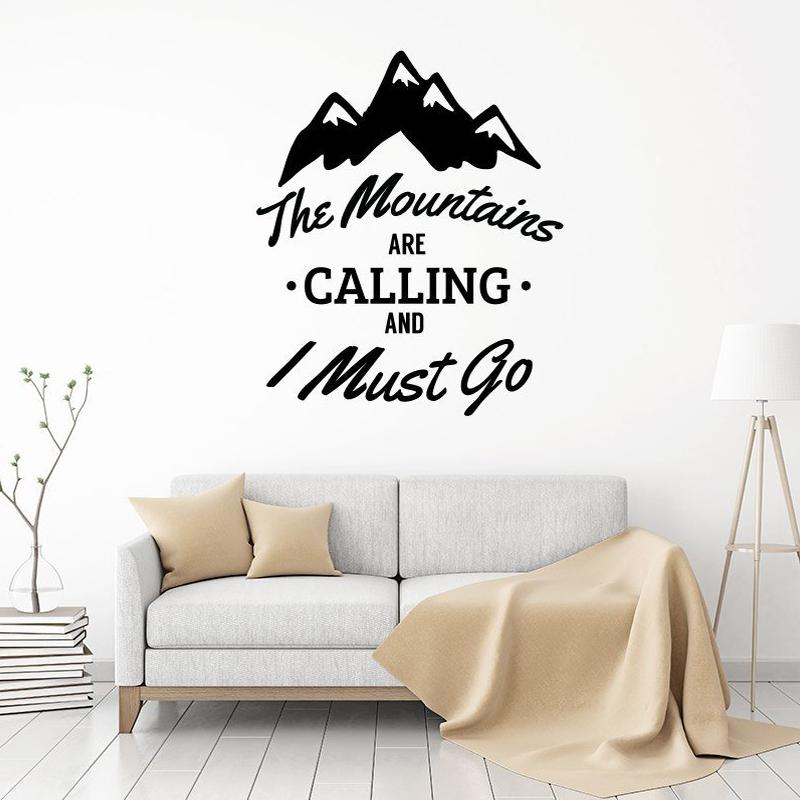 the mountains are calling and i must go vinyl wall stickers for