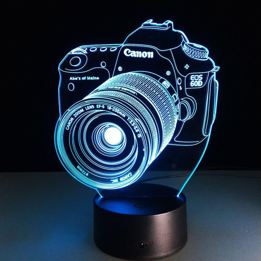 Neuheit 3D Lampe Kamera Illusion LED USB Lampe Touch 7 Farbwechsel Tisch Nachtlicht Nachttischlampe LED Lampe Möbel & Wohnaccessoires