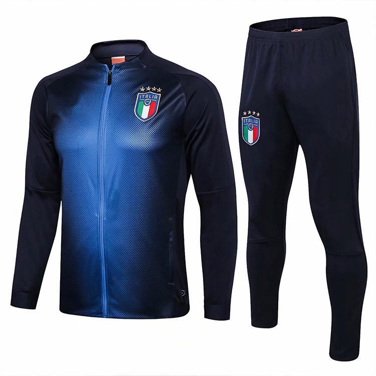 44584f27bced2 Compre 2018 Hombres Italia Entrenamiento Chándal Chaqueta Hombres 18 19  Italia Fútbol Conjunto De Traje De Chaqueta Chándal Fútbol Pantalones  Sportwear A ...