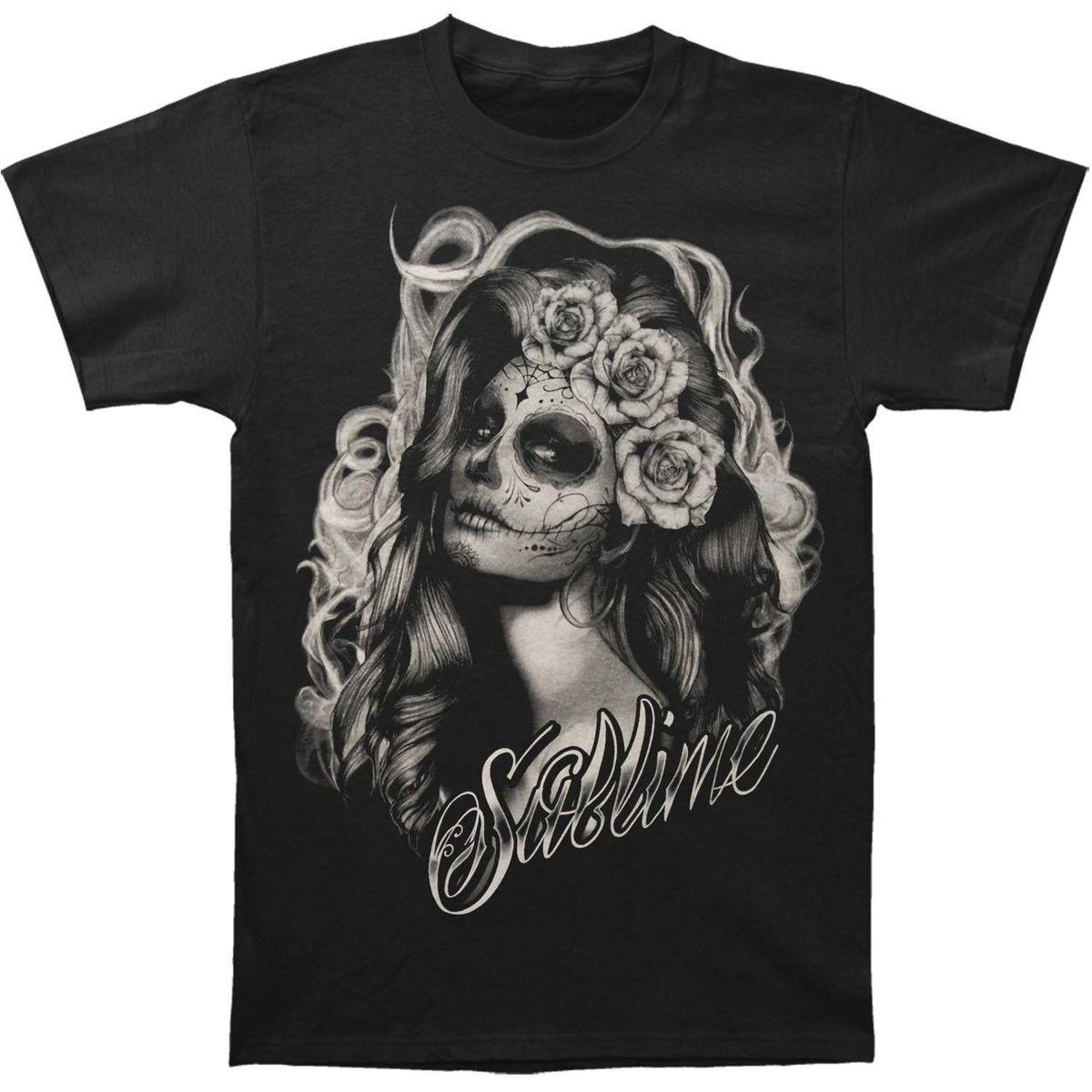 Authentic SUBLIME Band Sugar Skull Princess Slim-Fit T-Shirt S-2XL NEW