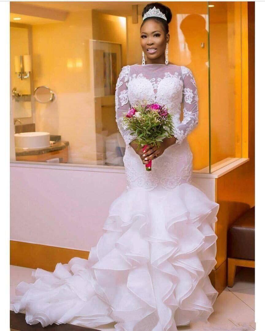 03daff8b2c South Arabic Nigerian Style Lace Mermaid Wedding Dresses Bridal Gowns 2018  Beaded Ruffled Organza Long Sleeves Tiered Sweep Train Black And White  Wedding ...