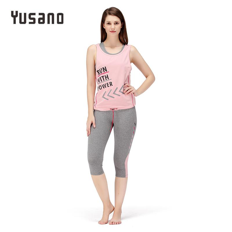 91dc913a6f 2019 Yusano Women Pajama Sets Shorts Cotton Sleeveless Sleepwear Letter  Print Nightwear Casual Homewear Clothes Sets Vest From Regine