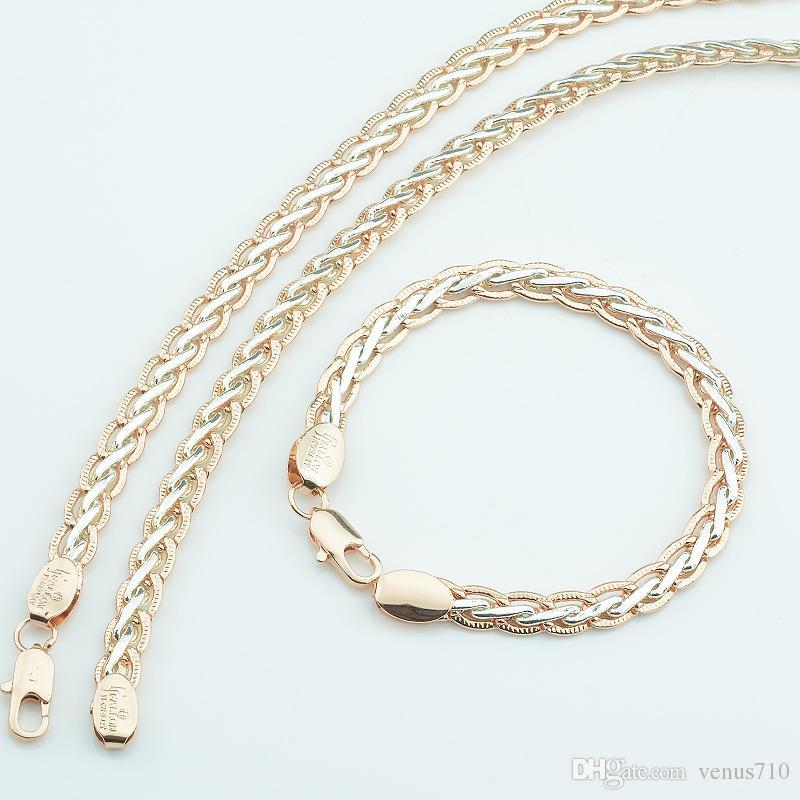 FJ Women 585 Gold Color 7mm Weaving Bracelets Curb Chains Twisted Necklace  Bracelets Chains Jewelry Sets