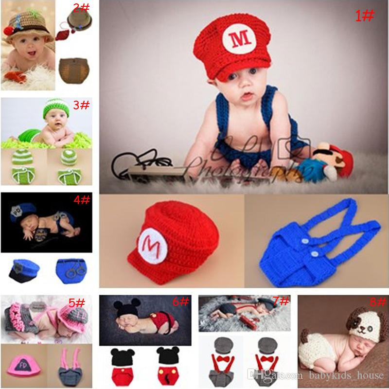 2019 Latest Crochet Baby Photography Props Knitted Baby Boy Girl Coming Home  Outfits Crochet Baby Cartoon Hats Newborn Costume From Babykids house f1a554a80e51