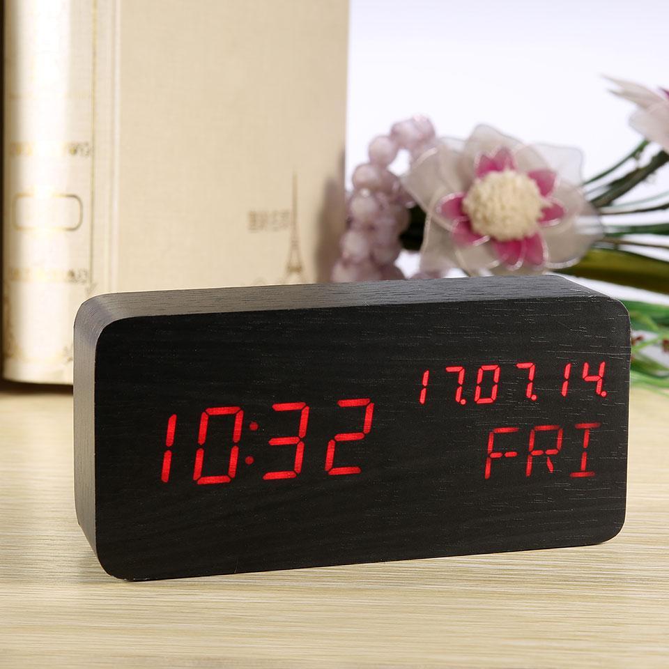 1be35debfca Compre Esktop Assistir Despertador De Mesa De Madeira Display Digital  Eletrônico Moderno LED Relógio Termômetro Calendário Despertadores Relógio  Com ...