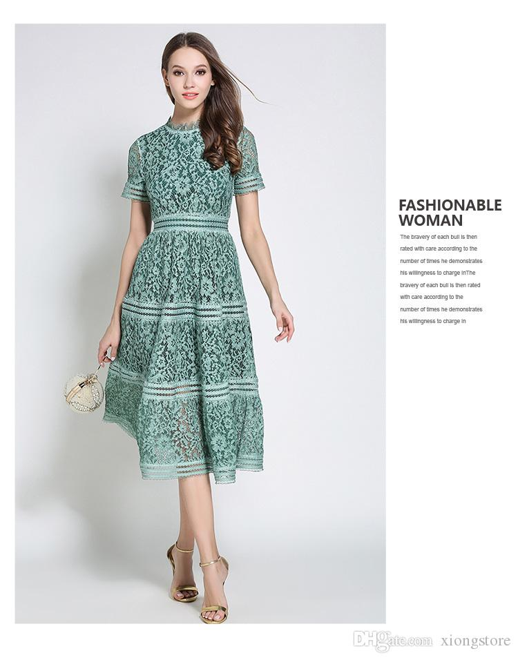 Women Dresses white high neck Party Dress female clothing 2019 autumn/winter fashion runway Green/Pink lace Short Sleeve Hollow out