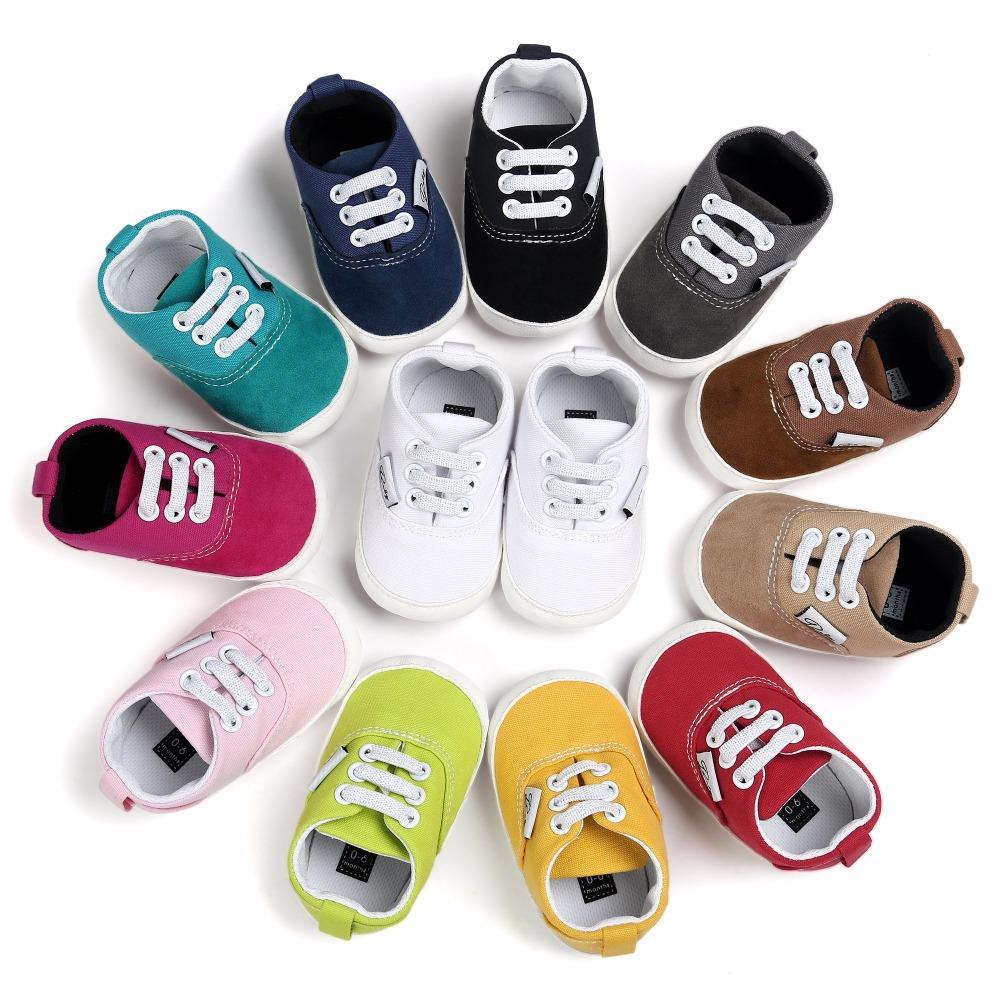 fa28e615 Compre ROMIRUS Nuevo Diseño Bebé Zapatos De Lona Con Cordones Niños  Mocasines Suelas De Goma Antideslizante Calzado Chicas Cuna Zapatillas 0 18  M A $36.98 ...