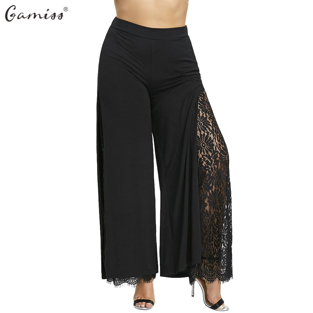feae8430ef731 2019 Gamiss Women Wide Leg Pants Plus Size High Slit Lace Lined Palazzo  Pants Mid Elastic Waist Female Fashion Long Loose Trousers Y1891405 From  Tao02