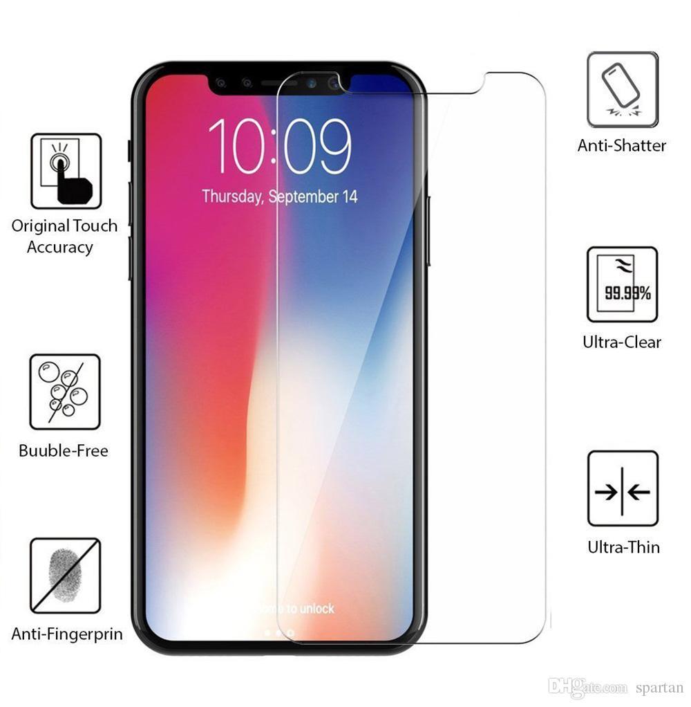 Pour Iphone 12 11 Pro Max XS Max XR 8 7 plus Samsung A20 A51 A21 A11 écran en verre trempé Protecteur 0.33mm 2.5D 9H avec le paquet de papier