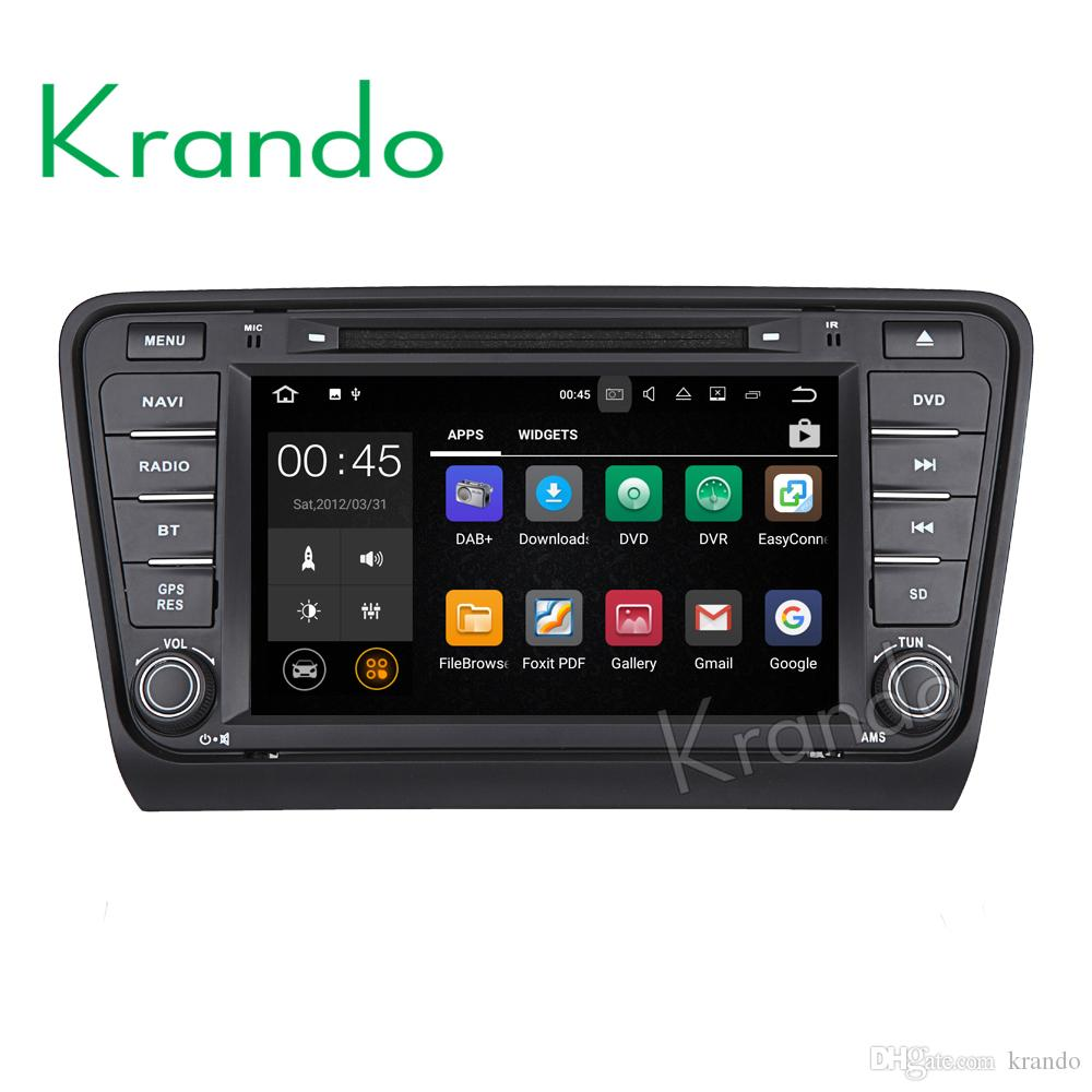 krando touch screen android 7.1 8'' car dvd radio player multimedia for Skoda Octavia 2014+ audio gps navigation wifi bluetooth