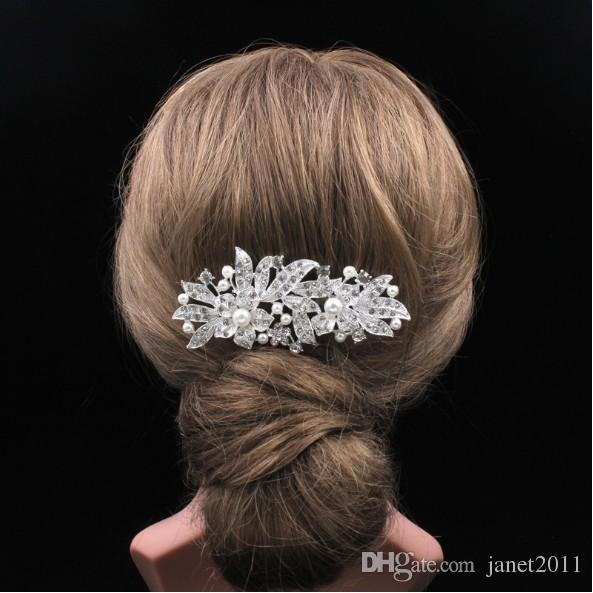 Wedding Hair Comb - Silver Tone Rhinestone Flowers Jewelry Head Pieces Party Hair Accessories For Girls/Ladies
