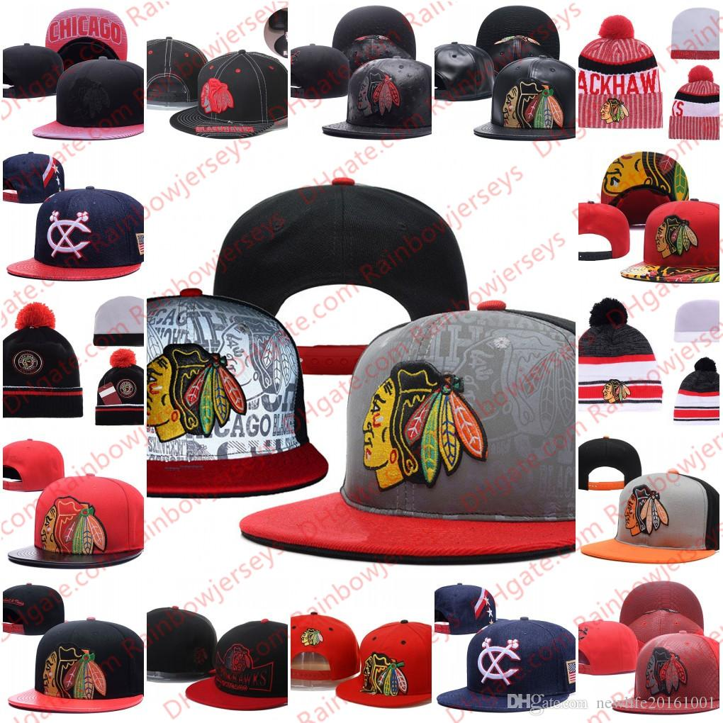 the best attitude 9ecb7 82ecd 2019 Chicago Blackhawks Snapback Caps Embroidery Ice Hockey Knit Beanies  Adjustable Hat Black White Red Gray Stitched Hats One Size For All From ...