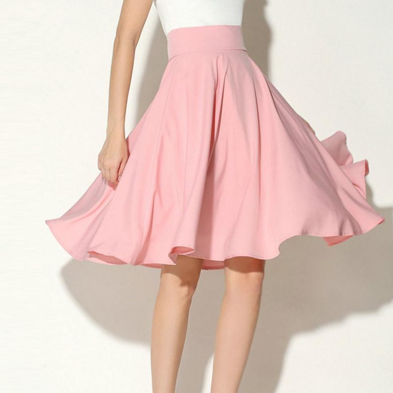 ae558fec28 2019 2018 New Arrivel Women Skirts High Waist Pleated A Line Skater Vintage  Casual Knee Length Skirt From Modeng02, $28.86 | DHgate.Com