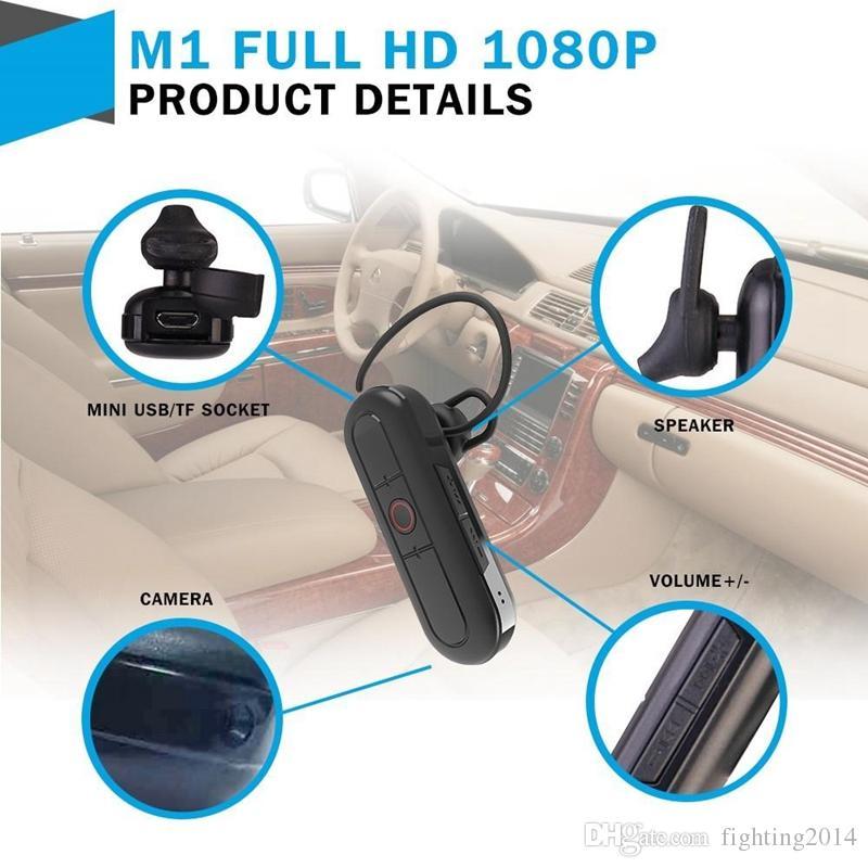 1080P Bluetooth Earphone camera Wireless Bluetooth Headset Earphone Video Camera Audio Recorder security & surveillance Earphone DVR M1