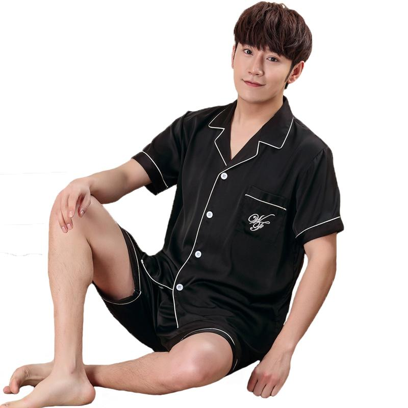6ea9137f94a1 2019 Black Men Sleepwear Summer Short Sleeve Rayon Pajamas Pyjama Suit  Casual Nightwear Plus Size 3XL Shirt+Shorts Home Wear From Red2015