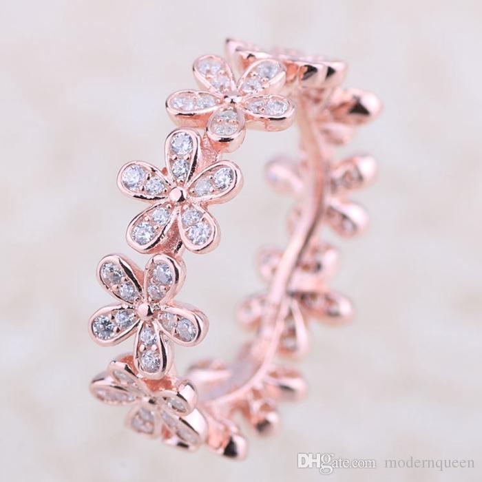 Rose Gold Daisy Flower Anelli originali argento adatti gioielli stile logo anello daisy daisy 180934cz h8