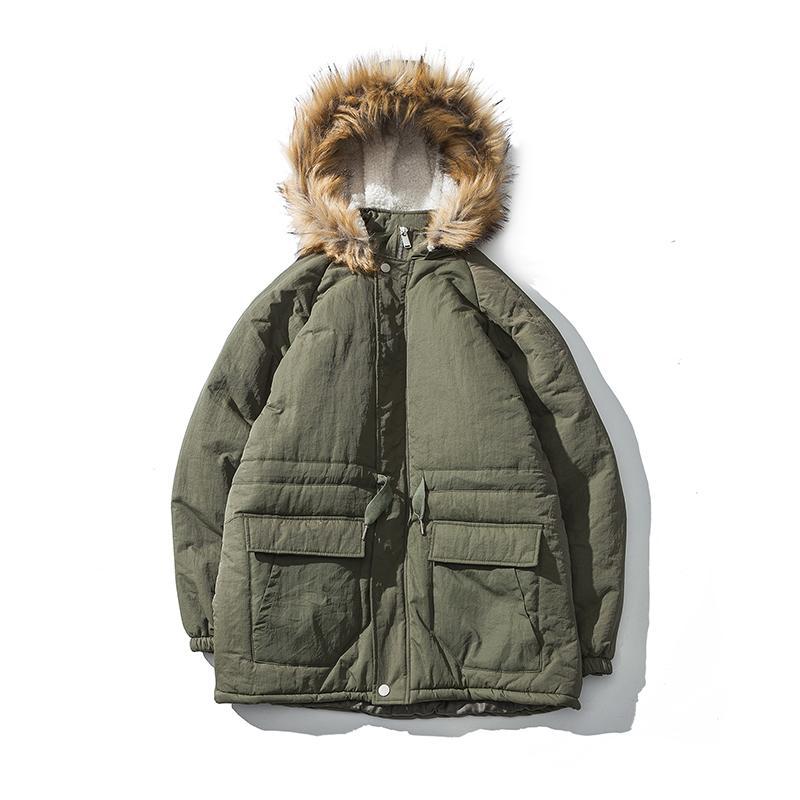 super popular b4d45 2a1d6 giacca invernale da uomo giacca trapuntata maschile cotone simil-parka con  cappuccio parka leggero parka in pelliccia sintetica ispessito cappotto ...