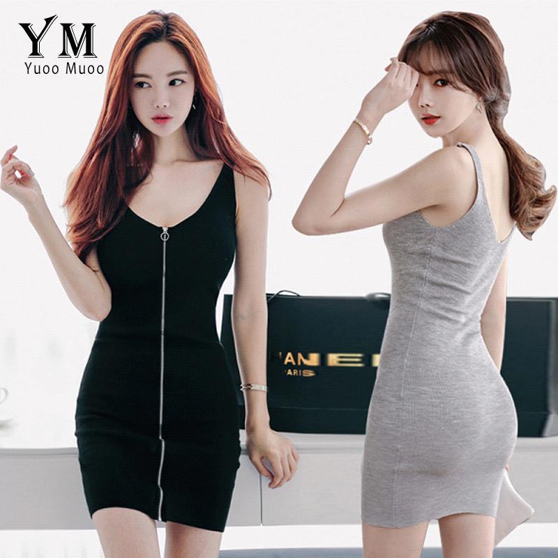 54c64de62a3d5 YuooMuoo Sexy Women Summer Dress 2018 Sleeveless Zippers Design Deep V-neck  Tank Bodycon Dress Vestidos Slim Black Mini