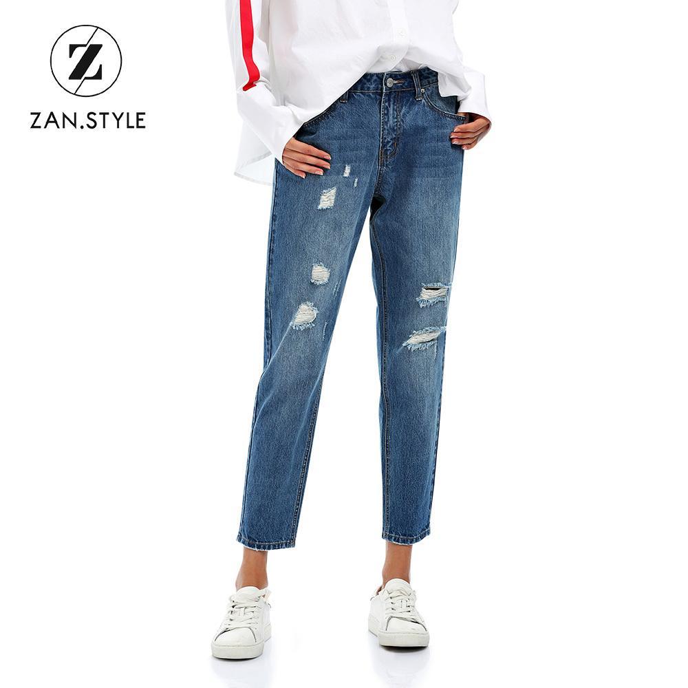 STYLE Streetwear Pantalones Vaqueros Del Agujero Rasgado Mujer Bolsillo  Casual Pantalones Jean Pantalones Otoño Invierno Cintura Baja Jean Mujeres  ... 7a4838bef7be