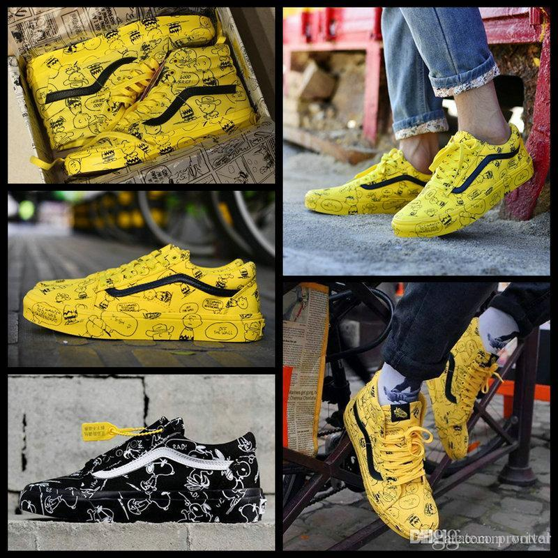 2018 Vault X Bad Brains Peanuts Old Skool Sk8 Hi Mens Women Casual  Skateboard Designer Shoes Cartoon Graffiti Canvas Skate Sport Sneakers  Silver Shoes ... 7ef349c6592c