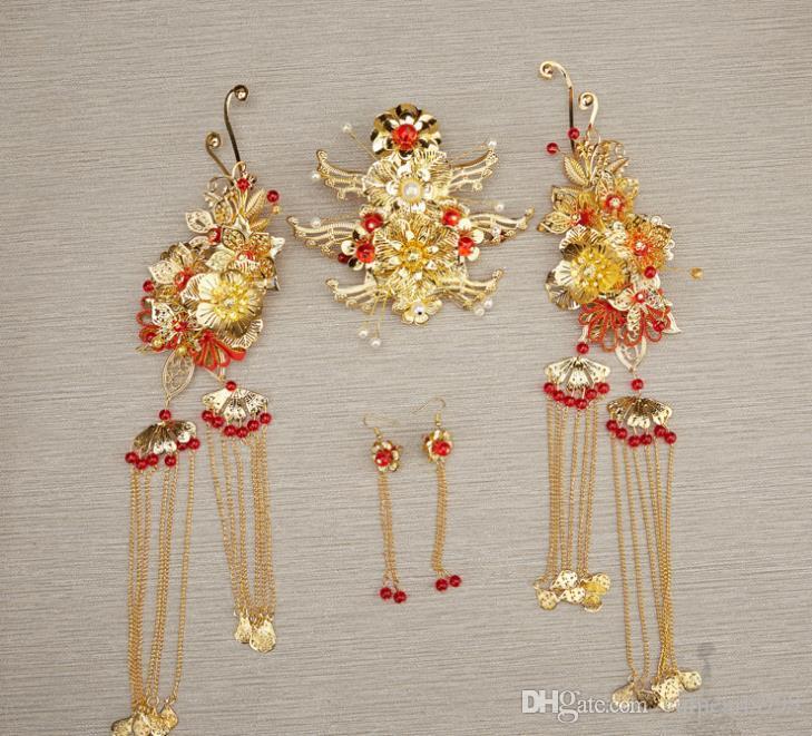 Çin gelin headdress kostüm yeşim saç tokası Coronet Bu Yao klasik düğün aksesuarları