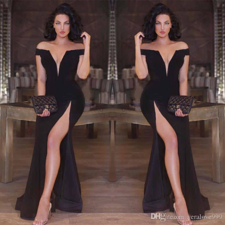 Sexy Black Mermaid Evening Dresses off Shoulder Deep V-neck Side Split Prom Party Gowns Slim Celebrity Special Occasion Gown