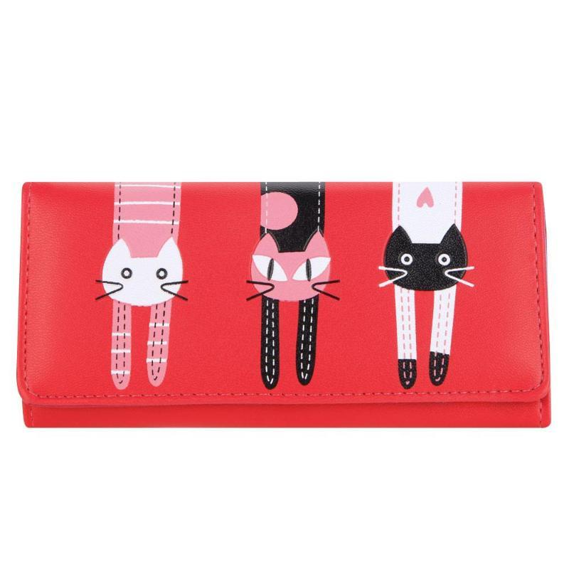 Candy Color Cat Printed Wallet Women PU Leather Long Wallet Cartoon Ladies Clutch Purse Female Pochette Coin Purse ID Holder Hot
