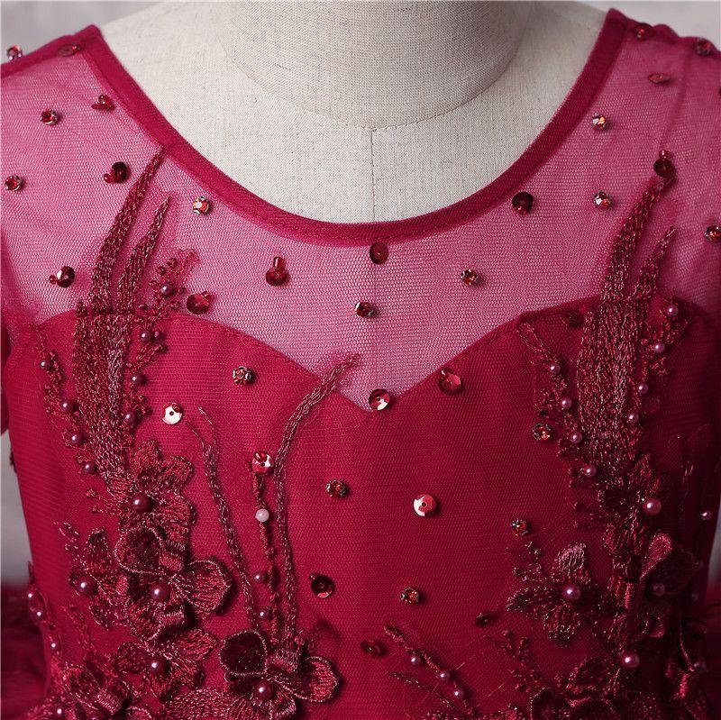 Increíbles chicas de múltiples capas Vestidos de concurso Vestidos de manga larga de encaje rojo oscuro Apliques Granos Vestidos de niña de flores para boda Vestido de fiesta de tren largo