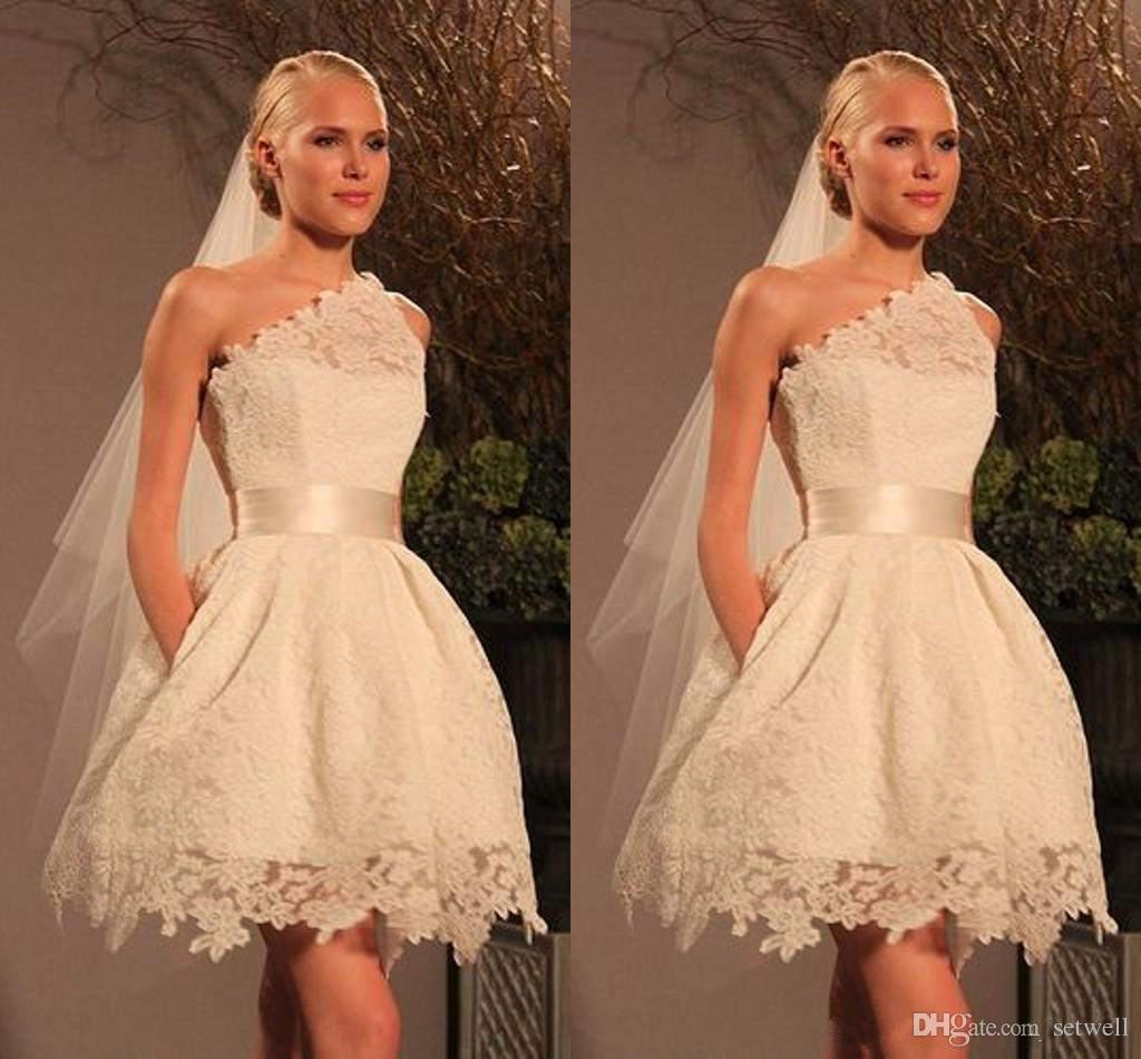 Vintage knielangen A-Linie Brautkleider eine Schulter volle Spitze Brautkleider benutzerdefinierte Größe Sommer kurze Brautkleid