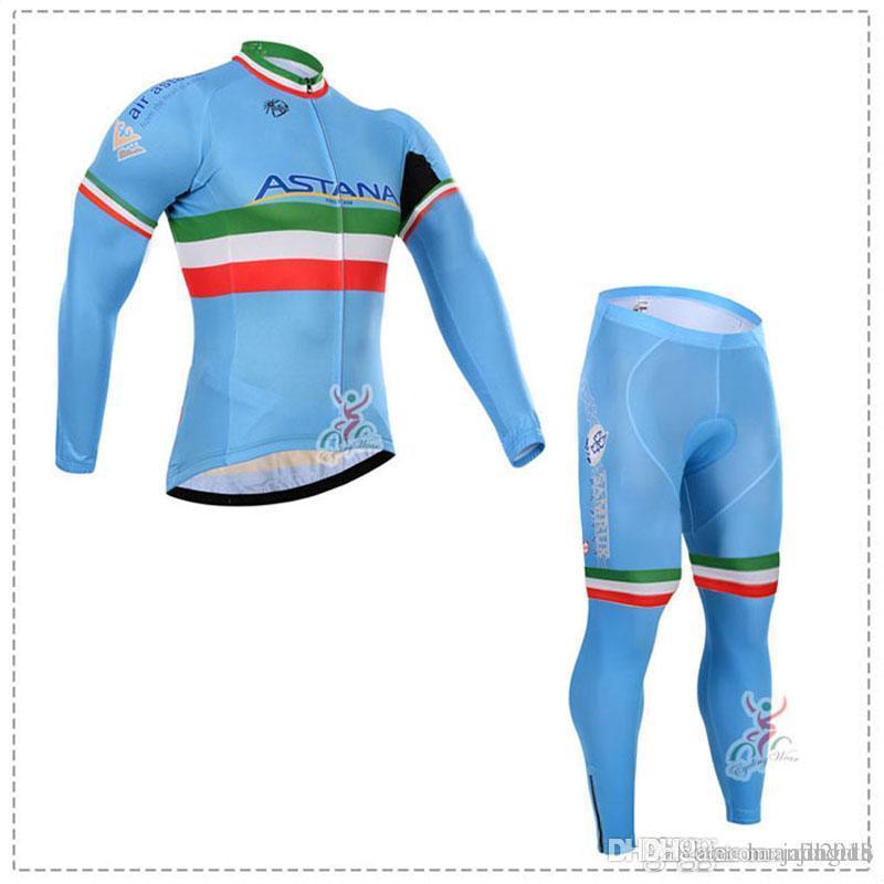 5a1b9f513132 Maglie Ciclismo Vintage ASTANA Squadra Ciclismo Maniche Lunghe Jersey  Bavaglino Set Di Pantaloni Ciclismo Set Maglie Bici Vestito Bicicletta  Vestiti ...