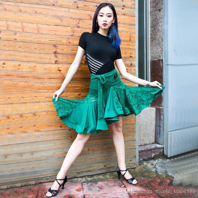 Frete Grátis Verde Adulto / Meninas Vestido de Dança Latina Salsa Tango Chacha Salão de baile Concorrência Vestido de Dança Lace Costura Fishbone Saia
