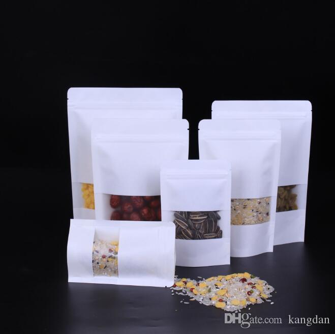 Le borse di carta bianche di Kraft stanno sul sacchetto con la borsa al minuto della finestra Commestibile a prova d'umidità i fagioli del biscotto dello spuntino Borsa d'imballaggio della caramella