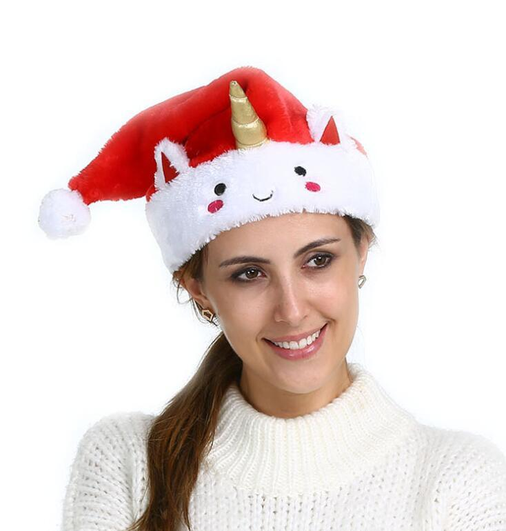 ff9948c5fe0dd Unicorn Christmas Hat Red Anime Cartoon Santa Claus Bonnet Xmas Party  Cosplay Caps Soft Stuffed Animal Gift Party Hats GGA1284 Christmas Party  Themes Circus ...