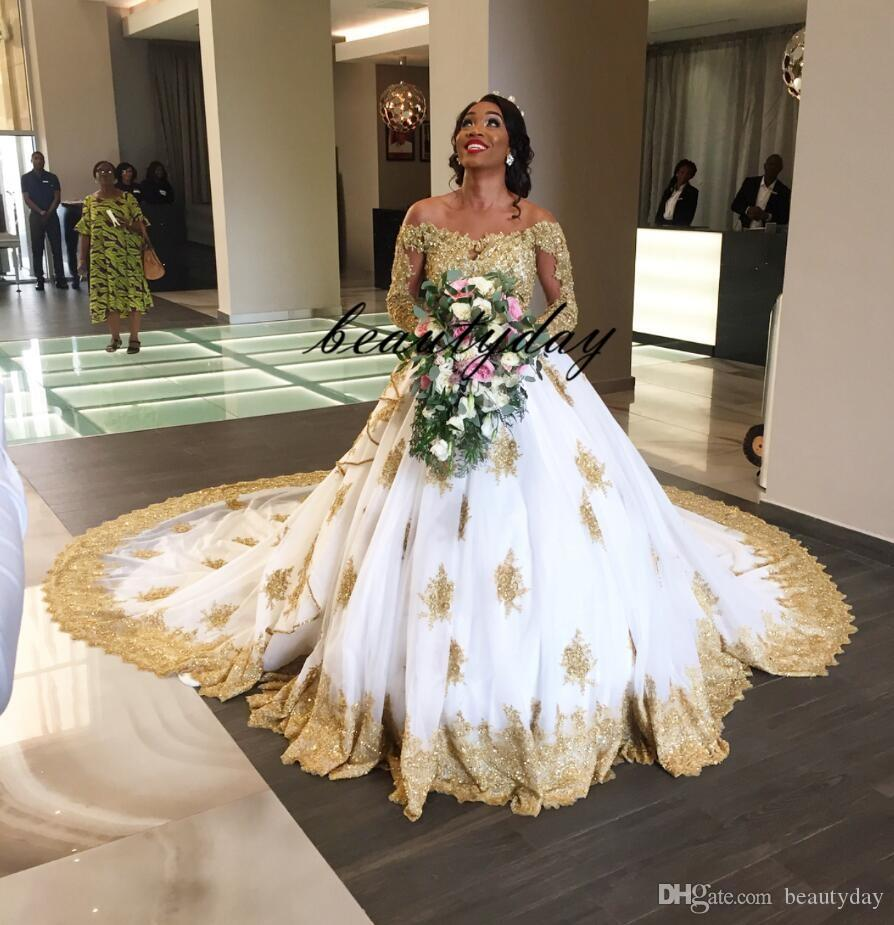 Discount A Line Gold Lace Wedding Dresses For Nigerian Bride 2019