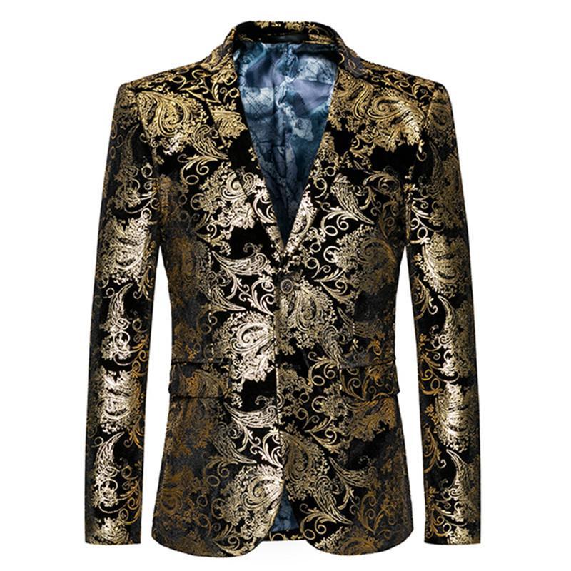Compre Blazer De Oro Hombres Floral Casual Slim Blazers 2018 Nueva Llegada  Fiesta De La Moda De Un Solo Pecho Chaqueta De Traje Masculino Más El  Tamaño M ... 5224a7bc0ed
