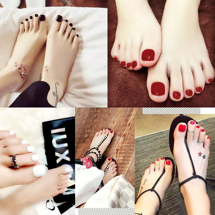 Wholesale Solid Candy Style Toe Nails Black Ruby Red Nude Yellow ...