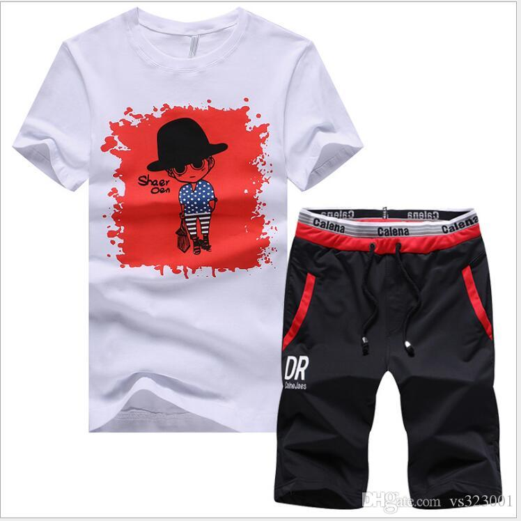 Summer Style Men's Sets Casual Two Pieces Suits Top Tee +Short Pants Streewear Brand Clothing Male Fashion Slim Fit Track Suits polo shirt