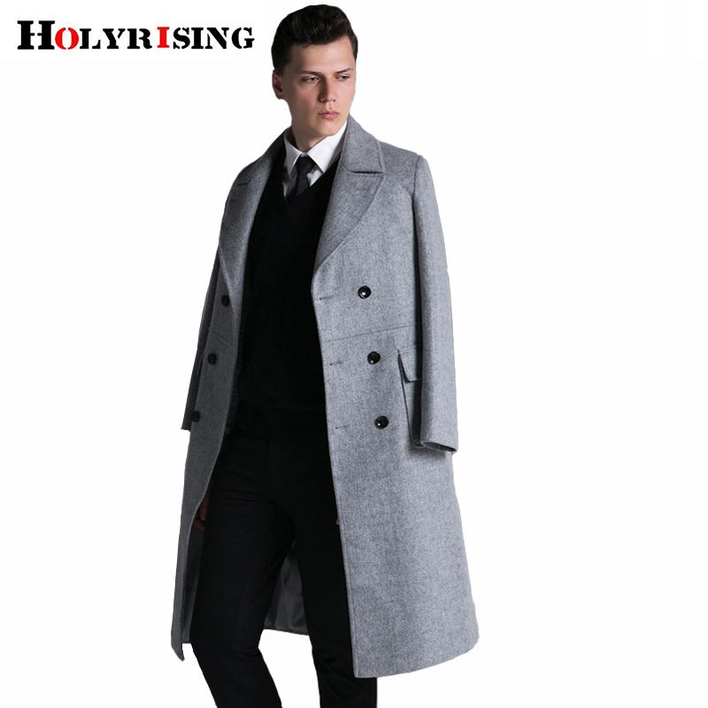 Holyrising Men Winter Jacket Wool British Style Men Longer Section Woolen Coats Men Jackets Outerwear Warm S-6XL #18067