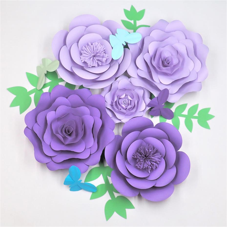 2019 Diy Giant Paper Flowers Leaves Butterflies Half Made Paper